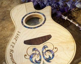 Anniversary Gift, Guitar Pick Box, custom inlaid wood acoustic guitar shape box