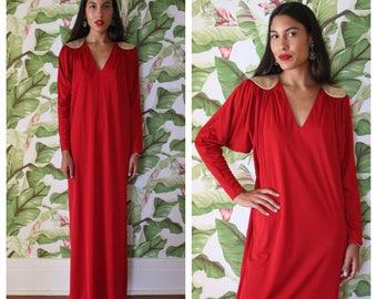 1970's Bill Tice Grecian Caftan / Dolman Sleeved Gown / Gold Shoulder Evening Wear / Resort Wear / High End Designer / Seventies