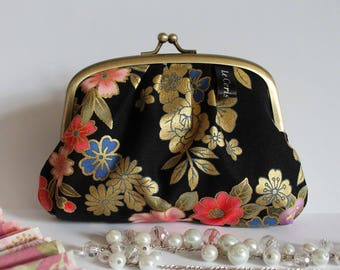 Golden black metal frame coin purse - Kanako