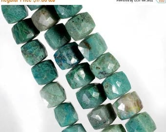 ON SALE Chrysocolla Beads Faceted  3D Cubes Box Beads Opaque Chrysocolla Earth Mined Gemstone - 4-Inch Strand - About 7.5 x 7.5  - 14 Cubes