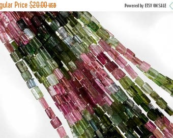 ON SALE Tourmaline Cubes Smooth Multicolor Tourmaline Cubes Watermelon and Petro Colors Earth Mined Gemstone  7 Inch Strand - About 5x3.5mm
