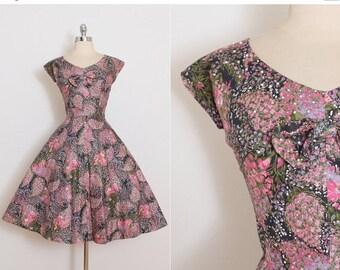 25% OFF SALE Vintage 50s Dress | Marcel Fashions 1950s dress | colorful floral rhinestone cotton medium | 5828
