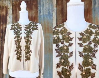 50's Beaded Floral Cardigan