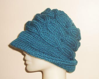 Hand knit hat Teal hat woman Hat Winter fedora hat with brim hat