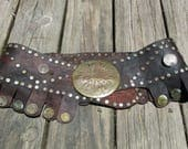 Vintage Leather and Brass Rivet Belt, Steampunk Warrior Belt with Brass Buckle and Brass Coins