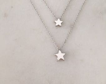 Star Necklace Gift Set - Small and Large Star Necklace Gift Set - Mother & Daughter Gift Set