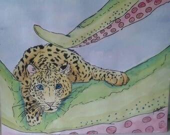 tentacle and jaguar watercolor  painting