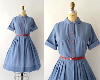 1950s Vintage Dress - 50s Blue Chambray Shirtwaist Dress