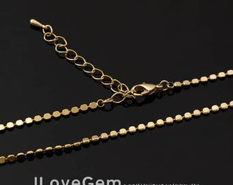 NP-1916 Necklace Chain, Gold Plated, 2mm ndc, 16 inch and extender 2 inch, 1pc