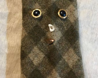 A4 thick wool felt doggiepurse  iphone 8 merino wool felt bag with doggie design  purse  bag ipad case Upcycled Merino buttons as decoration