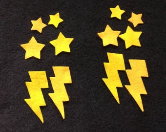 Small Felt Lightning Bolts & Stars-Superhero Parties-Bible Journaling-Iron On Felt Stickers-Costume Accessories-Planner Embellishments