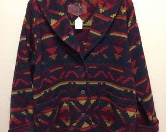 Woolrich Woman Wool Jacket Coat Southwestern Blanket Style XL Plus