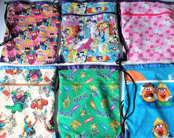 Fabric Covered,Nylon Lined,Drawstring Backpack Marvel Comics,Marvel Ladies,Hello Kitty,My Little Pony,Ninja Turtles,Mr. Potato Head School