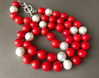 Red Coral Freshwater Pearl Earrings Necklace Set