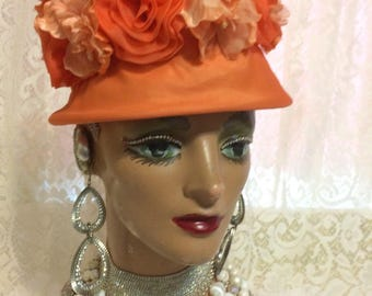 Stunning Orange Floral Hat With Flowere and Pearls