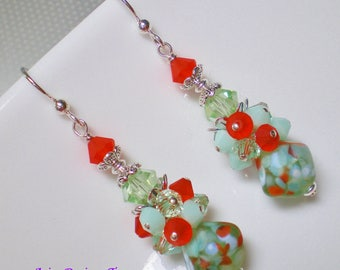 Mint Green,Orange and White Diamond Shaped Lampwork Earrings. Mint Green and Orange Abstract Cluster Earrings