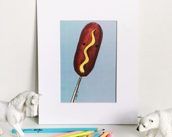 Corndog Print on Blue, Silly Food Art