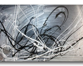 1 ABSTRACT CANVAS PAINTING grey silver