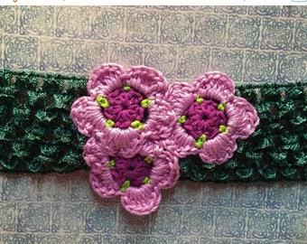 ON SALE Crocheted Flower Headband - Pink Flower Headband - Adult or Child Floral Headband