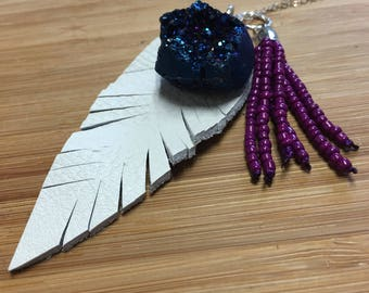 Druzy Leather Feather Necklace