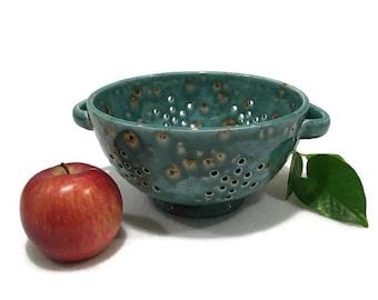 Teal Ceramic Colander / Berry Bowl