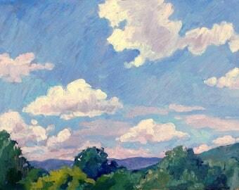 Porch View, Berkshires June Sky. American Realist Landscape Painting, 11x14 Plein Air Impressionist Oil on Panel, Signed Original Fine Art
