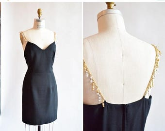 25% off Storewide // Vintage 1990s BEADED cocktail dress