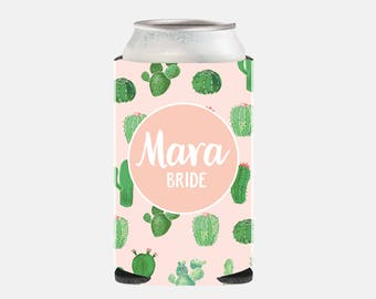 Cactus Bachelorette Party Favors Pink Bridesmaid Gift Ideas Cactus Wedding Favors Wedding Can Cooler Personalized Bridesmaid Gifts CZ