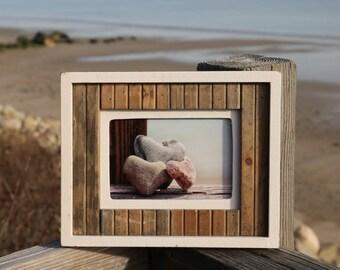 Beach Photography- Three Hearts, romantic heart stones, dreamy wedding coastal photo art, macro, pastel, rustic framed rock art, beach decor