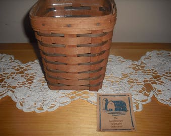 Longaberger Signed 1988 Spoon Basket Good Condition with Protector,