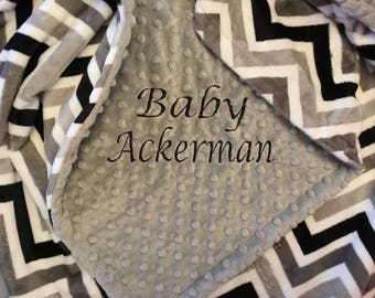 Minky Blanket - Personalized baby blanket - Charcoal cd with chevron greys