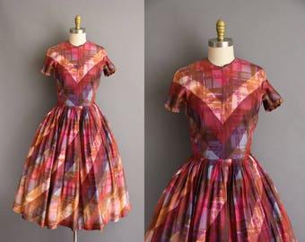 1950s Howard Wolf colorful plaid full skirt vintage dress. vintage 50s dress
