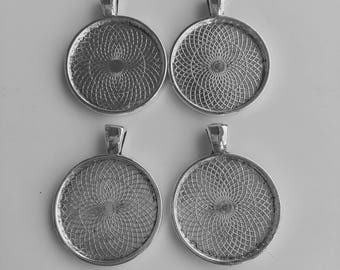 "Four (4) Silver Plated Pendant Trays to fit 1"" Glass Cabochons"