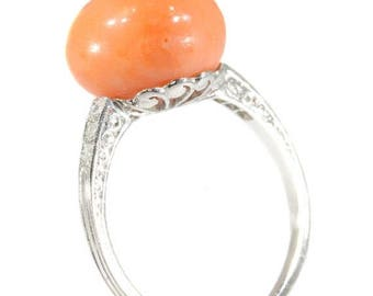ON SALE Vintage coral ring platinum Art Deco diamond cabochon coral button ring France 1920s