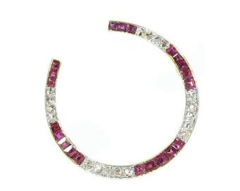 ON SALE Art Deco brooch horse shoe good luck token gold ruby and diamonds c.1920