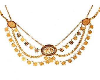 ON SALE French antique gold necklace enamel collier esclave