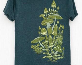 Fun Unisex Hand Silk Screened Mushroom T-shirt