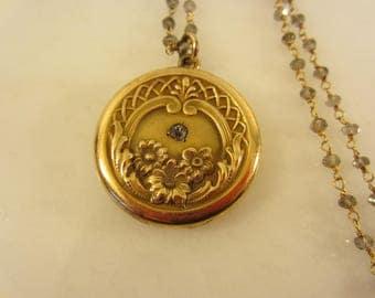 Antique Art Nouveau Gold Filled Floral Locket on Gemstone Chain