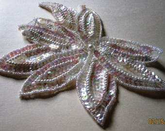 "One White Beads and Sequins Applique Size: 7"" x 5"""