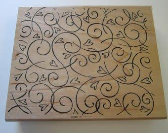 rubber stamp - SOFT SWIRLS - large swirl heart background stamp - Stampin' Up 2002