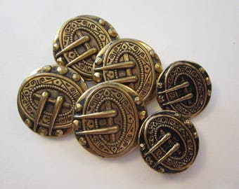 6 vintage brass picture buttons - faux buckle buttons
