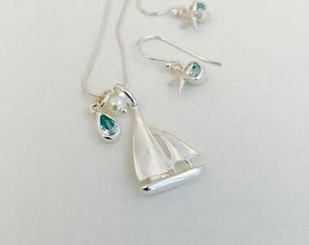 Sail Away, gemstones and pearls, sterling silver sailboat necklace, Blue Topaz, Aqua Marine sailing, nautical