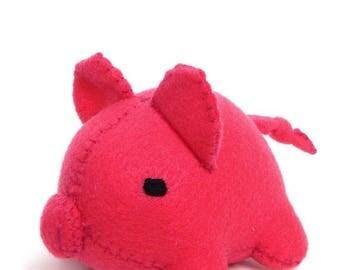 ON SALE Handsewn Felt Pig Stuffed Animal