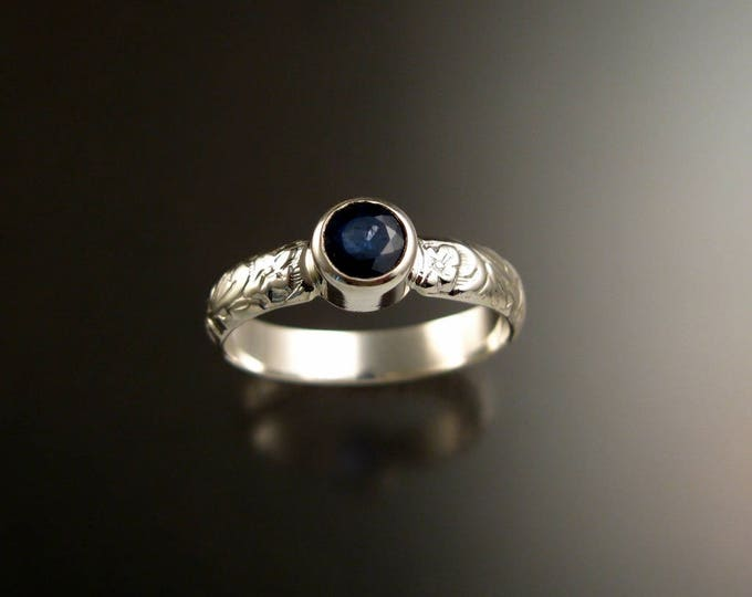 Sapphire Natural gemstone sterling silver Cornflower blue ring with Victorian floral pattern band made to order in your size