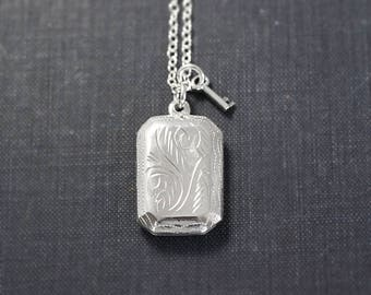 Sterling Silver Book Locket Necklace, Vintage Rectangular Picture Pendant with Decorative Key - Hidden Treasure