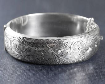 Vintage Sterling Silver Bangle, Swirl Engraved 1940 Hallmarked Bracelet with Clasp and Safety Chain - Enchanted