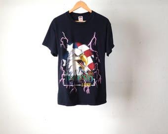 """vintage EAGLE biker """"LEGEND lives"""" black LIGHTNING bolt t-shirt top"""