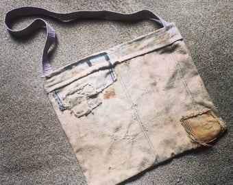 """Messenger Bag / Grain Sack / 20"""" X 17"""" / Charmingly Tattered"""