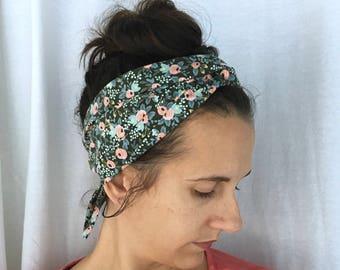 Rifle Paper Co Headband - Womens floral headband - hair scarf - hair scarves - green floral headband - yoga headband - wrap style headband