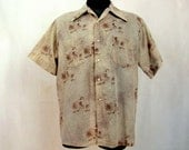 Vintage 70s Men's Shirt ~ Tan Print ~ Short Sleeve ~ King's Road ~ Sears ~ Large ~Double Pockets ~ 50/50 Cotton/Poly
